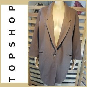 TOPSHOP CAMEL WOOL PEACOAT BOYFRIEND FIT